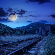 Night rail metal bridge in mountains — Stock Photo