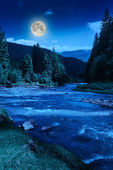 Mountain river at night — Stock Photo