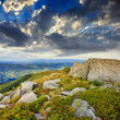 Light on stone mountain slope with forest — Stock Photo #37548697