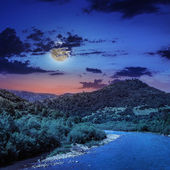 Wild mountain river on a clear summer night — Stock Photo