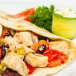 Burrito with beans and chicken — Stock Photo