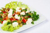Salad with olives and feta — Stock Photo