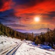 Snowy road to coniferous forest in mountains at sunset — Stock Photo
