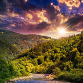 Wild mountain river on a hot summer evening — Stock Photo
