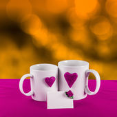 Love card with heart on a tea cup — Stock Photo