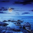 Sea wave breaks about boulders at night — Stock Photo