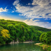 Calm mountain river on a clear summer morning — Photo