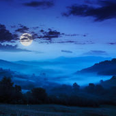 Cold fog on blue night in mountains — Foto Stock
