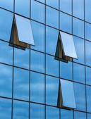 Reflection in open windows  of  skyscraper  — Stock Photo