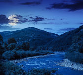 Mountain river on a clear summer night — Stock Photo
