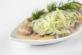 Onion circles and dill with herring — Stock Photo