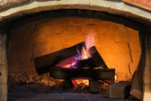 Wood fireplace system with purple flame — Stock Photo