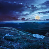 Boulders on the hillside in high mountains at night — Stock Photo