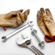Stock Photo: Gloves, Wrenches and Bolt