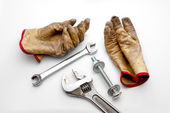 Gloves, Wrenches and Bolt — Stock Photo