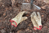 Compost, Gloves and Shovel — Stock Photo