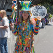 Elderly Hippie at thePasadena Doo Dah Rose Parade - Stock Photo