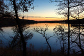 Sunset on the Lake in Indian Summer — Stock Photo