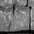Stock Photo: Engraved Railroad Tie in Black and White