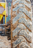 Tractor Tire on Construction Site — Stock Photo