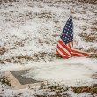 Stock Photo: Veteran's Grave in Rural AmericCemetery in Winter