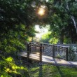 Path over Minnehaha Creek at Lake Nokomis in Minneapolis Minneso - Stock Photo