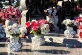 Mémoriaux de fleurs au cimetière — Photo