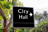 Arrowed City Hall Sign — Stock Photo