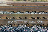 No Trespassing on Railroad Tracks — Stock Photo