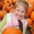 Young Girl Holding Pumpkin — Stock Photo