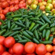 Green Jalapenos and Red Tomatoes — Stok Fotoğraf #34284925