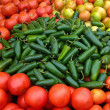 Green Jalapenos and Red Tomatoes — Stok fotoğraf