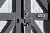 Old Barn Door Marked Private — Stock Photo
