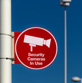 Security Cameras in Use Sign — Stock Photo