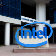 Stock Photo: Intel Sign at Corporate Headquarters.
