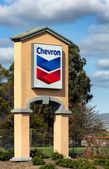 Chevron Gas Station Sign — Stok fotoğraf