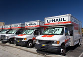U-Haul Trucks Lined in a Row — Stock Photo