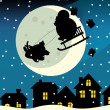 The funny christmas drawing - Santa claus flying over the city and dropping presents — Stock Photo