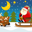 The santa claus sliding with the sack full of presents — Stock Photo #12049531