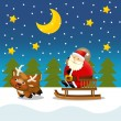 The santa claus sliding with the sack full of presents — Stock Photo #12049608
