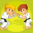 Two kids training martial arts - Stock Photo