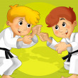 Two kids training martial arts — Stock Photo