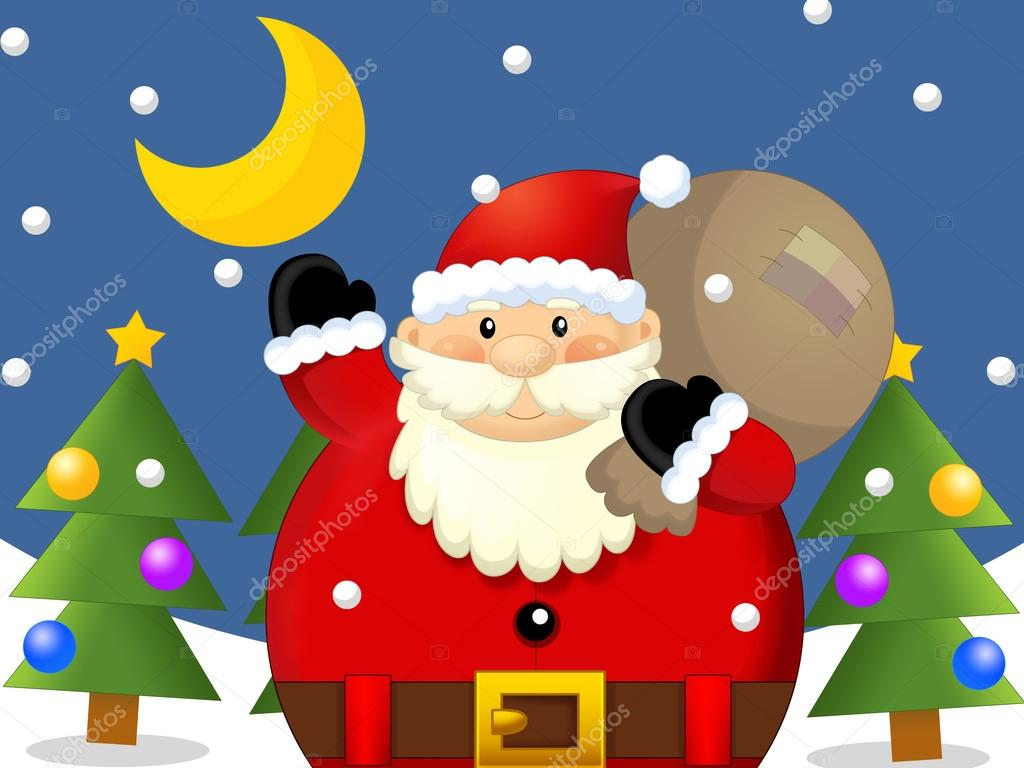 The design of christmas situation - santa claus with sack - greeting - giving gifts - christmas card - ornament - illustration for the children  — Stock Photo #12049387