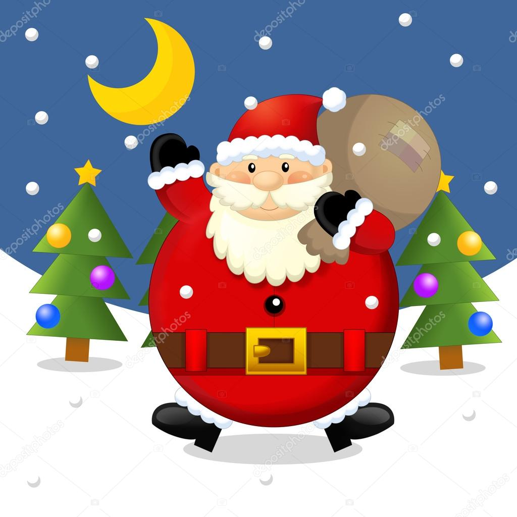 The design of christmas situation - santa claus with sack - greeting - giving gifts - square format - illustration for the children  — Stock Photo #12049491