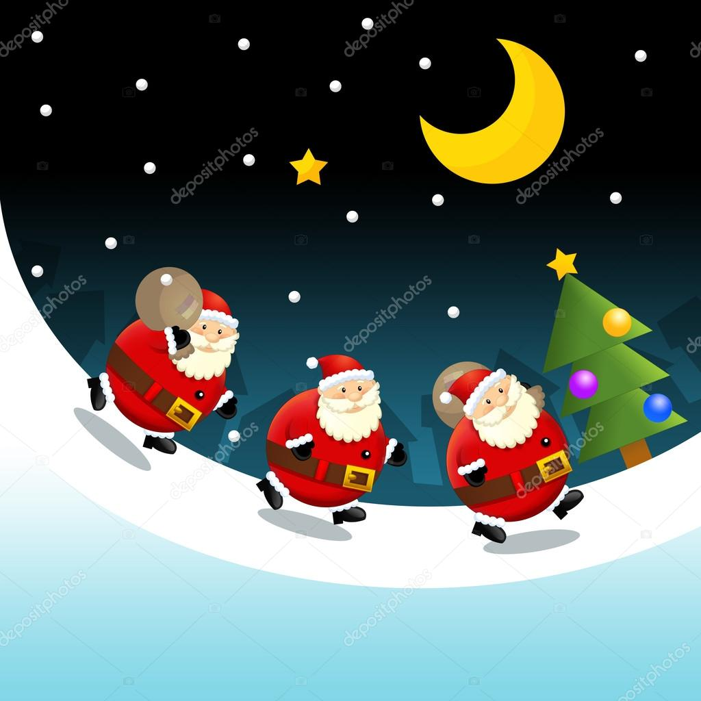 The design of christmas situation - santas travel - giving gifts - square format - illustration for the children  — Stock Photo #12049506