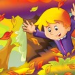 Cartoon kids playing autumn fun — Stock Photo