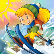 Cartoon child downhill jump — Stock Photo