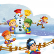 Winter fun kids — Stock Photo