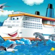 Big, happy cruise liner — Stock Photo