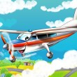 Little happy, cartoon plane - Stock Photo